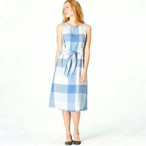 J Jill Love Linen Gingham Dress Tie Waist Petite